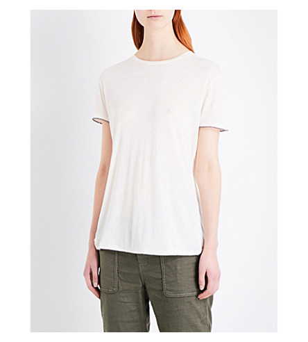 THE KOOPLES Crossover linen-blend T-shirt (Ecr01
