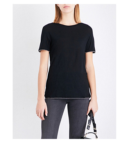 THE KOOPLES Bead-embellished jersey T-shirt (Bla01