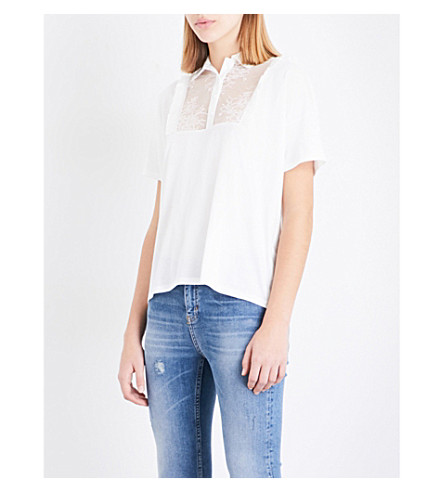 THE KOOPLES Floral-lace panel cotton-jersey top (Ecr01