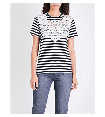 THE KOOPLES Floral-lace striped jersey T-shirt (Bla06