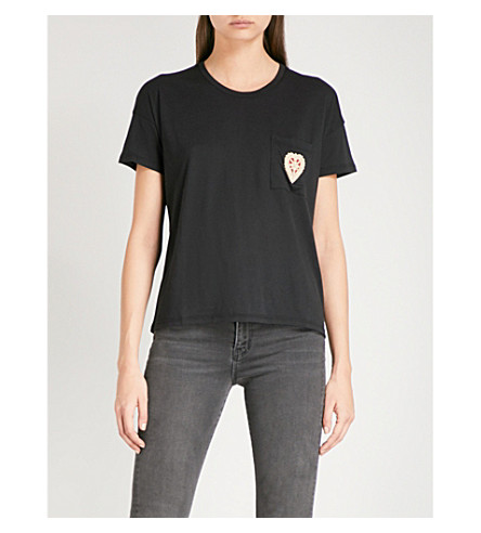 THE KOOPLES Heart-embroidered jersey T-shirt (Bla01