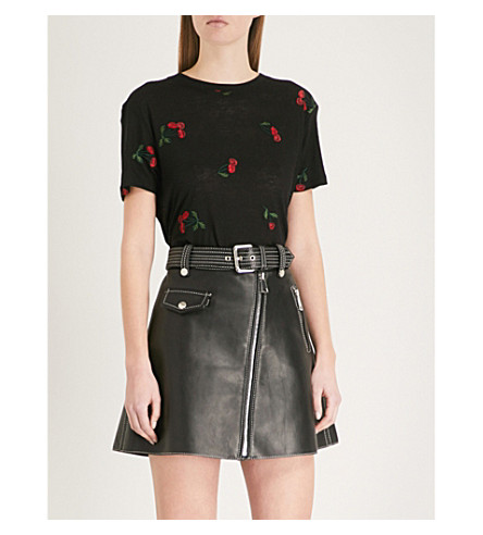 THE KOOPLES Cherry-embroidered jersey T-shirt (Bla01