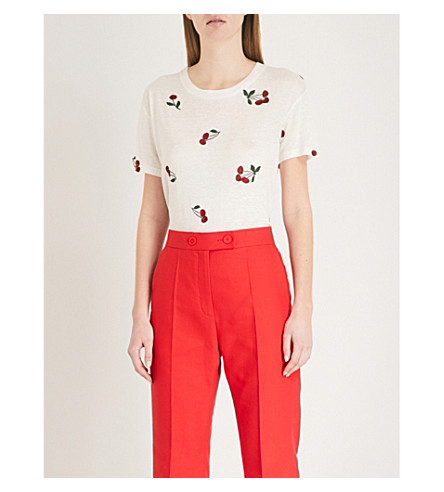 THE KOOPLES Cherry-embroidered jersey T-shirt (Ecr01