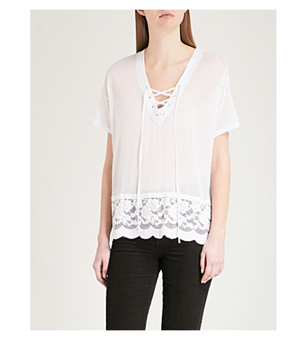 THE KOOPLES Lace-up jersey T-shirt (Bla00