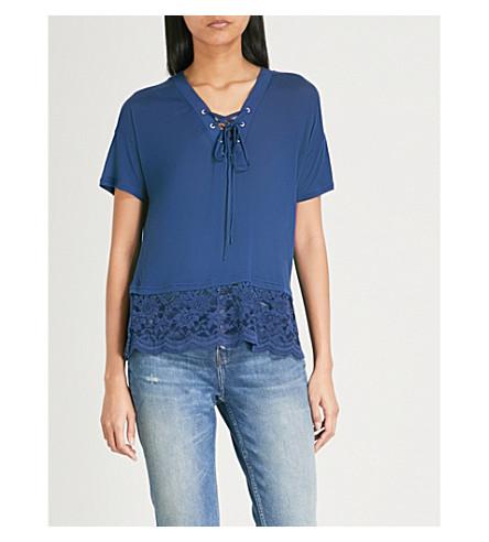 THE KOOPLES Lace trim jersey T-shirt (Nav01