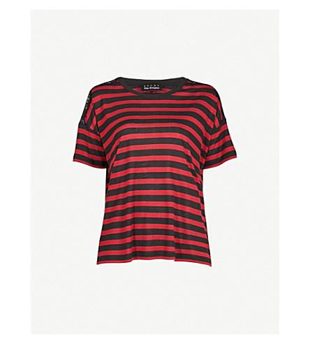 THE KOOPLES Lace-detail striped jersey T-shirt (Bla26