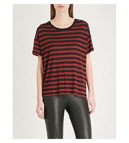 THE KOOPLES Lace-detail striped jersey T-shirt (Bla26