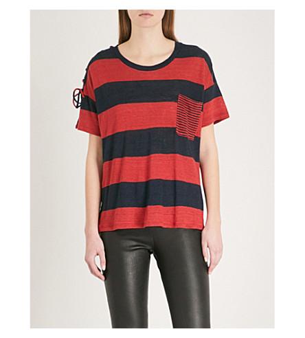 THE KOOPLES Drawstring-detail striped linen T-shirt (Red13