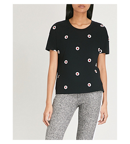 THE KOOPLES Ruby floral-embroidered cotton T-shirt (Bla01