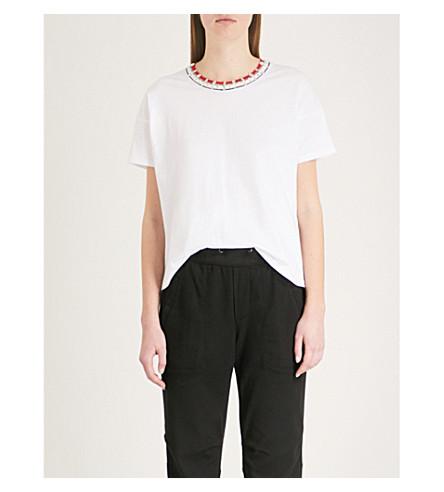 THE KOOPLES Embellished-trim cotton-jersey T-shirt (Bla00