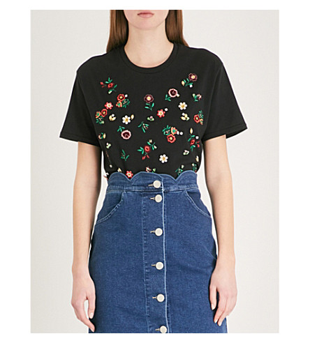 THE KOOPLES Floral-embroidered jersey T-shirt (Bla01