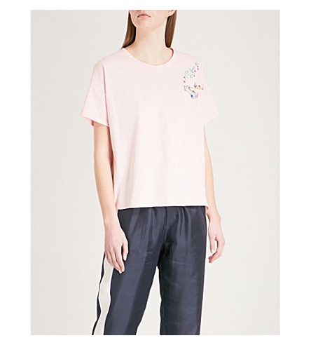 THE KOOPLES Embroidered cotton-jersey T-shirt (Pin01
