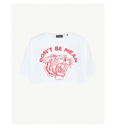 THE KOOPLES Printed cropped cotton-jersey T-shirt (Whi01