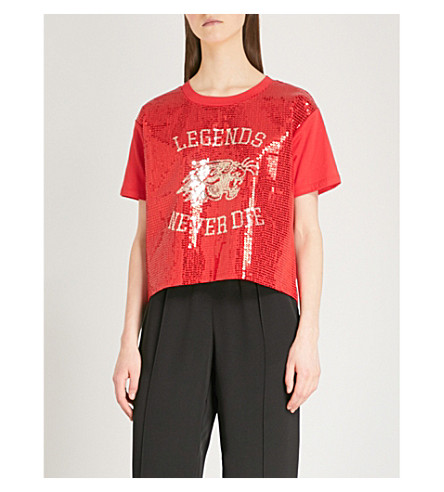 Red01 T Sequin KOOPLES shirt THE embellished KOOPLES THE cotton 6q8P8p