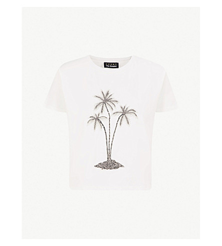 THE KOOPLES Embellished flocked palm tree cotton-jersey T-shirt (Ecr01