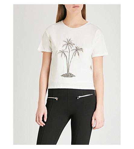 THE KOOPLES Embellished flocked palm tree cotton-jersey T-shirt (Ecr01