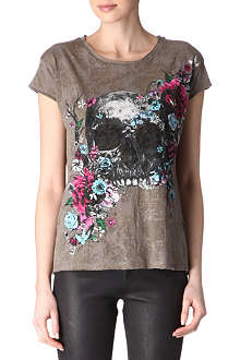 THE KOOPLES Floral skull burn-out t-shirt