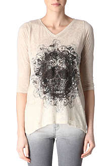THE KOOPLES Skull and butterfly burn-out top