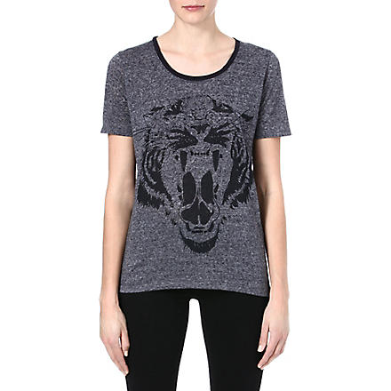 THE KOOPLES SPORT Tiger head t-shirt (Grey - feather print