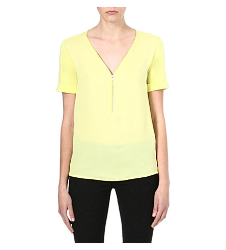 THE KOOPLES SPORT Zip-front silk and jersey top (Yellow
