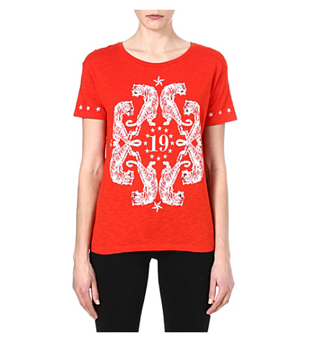 THE KOOPLES SPORT Kaleidoscope Tigers t-shirt (Red-white
