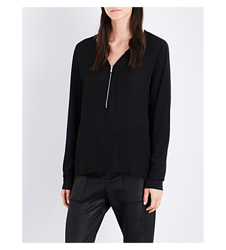 THE KOOPLES SPORT Zip-detail silk and jersey top (Bla01