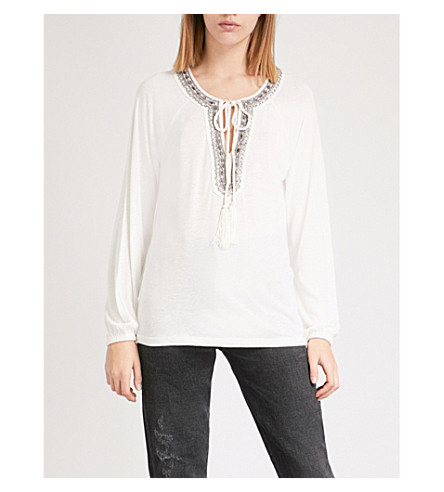 THE KOOPLES Embellished woven top (Ecr01