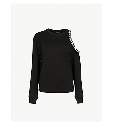 THE KOOPLES Embellished cold-shoulder cotton-jersey top (Bla01