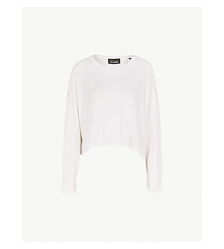 THE KOOPLES Panelled linen and lace top (Bla00