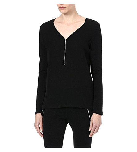 THE KOOPLES Zip-front silk and jersey top (Black