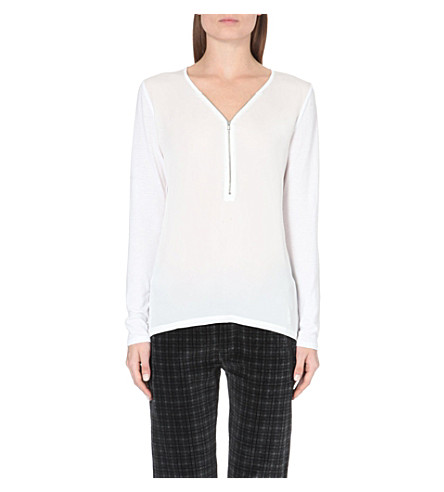 THE KOOPLES Zip-front jersey top (White