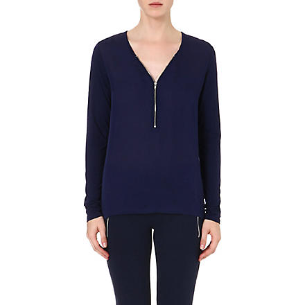 THE KOOPLES SPORT Zip-front silk and jersey top (Blue