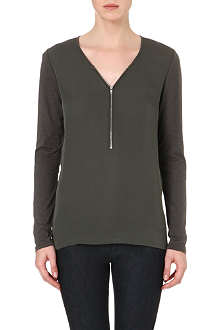 THE KOOPLES SPORT Zip-front silk and jersey top