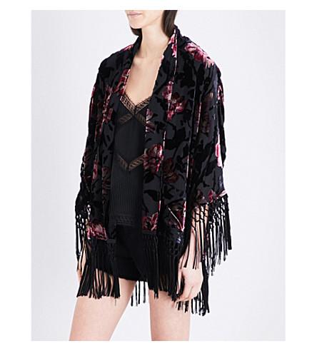THE KOOPLES Fringed floral chiffon jacket (Bla01