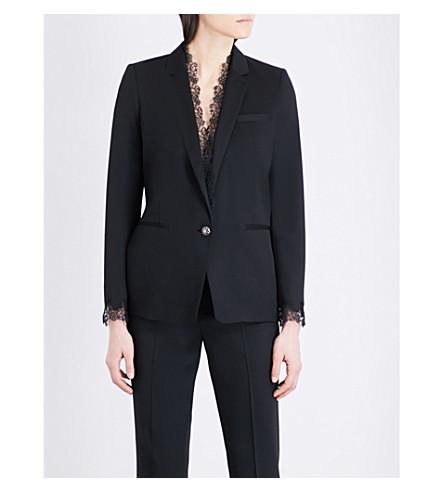 THE KOOPLES Lace-trim twill suit jacket (Bla01