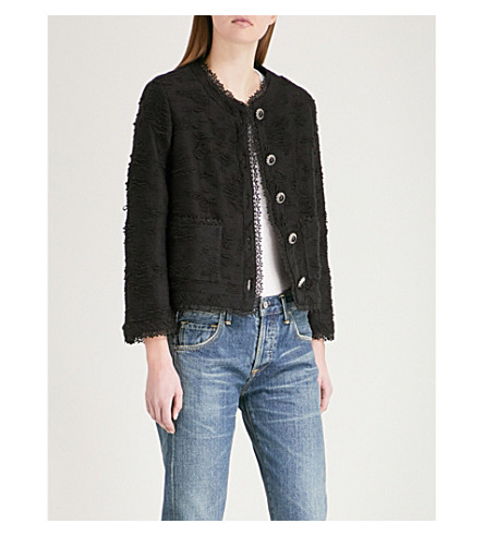 THE KOOPLES Square-cut jacket with lace braid (Bla01