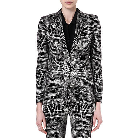 THE KOOPLES Two-tone Crocodile print jacket (Black-ecru