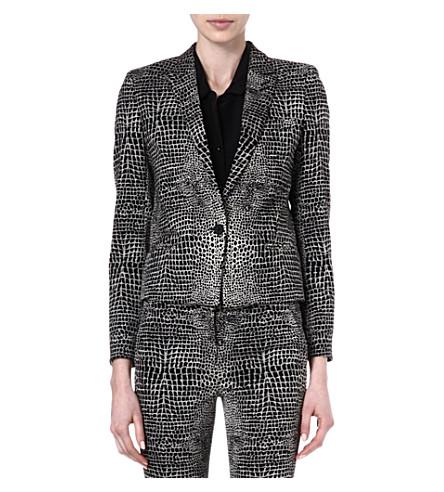 THE KOOPLES Two-tone Crocodile print jacket (Black-ecru
