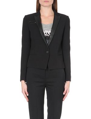 THE KOOPLES SPORT Leather peak lapel cropped suit jacket