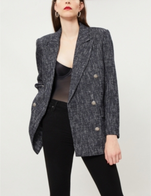 Double-Breasted Cotton-Blend Woven Blazer in Blaw4