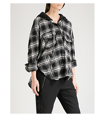 THE KOOPLES Checked hooded overshirt (Bla02