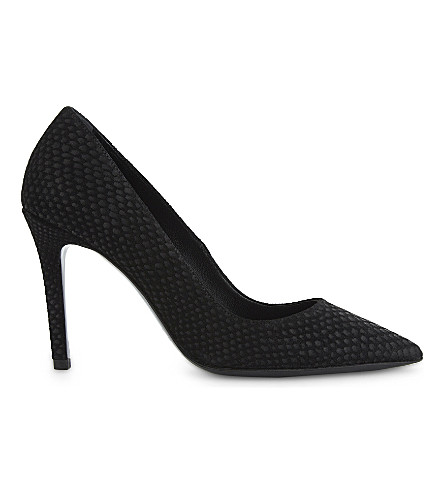 THE KOOPLES Snakeskin-effect black suede court shoes (Bla01