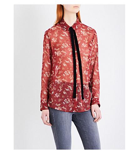 THE KOOPLES Velvet neck-tie georgette shirt (Bur01