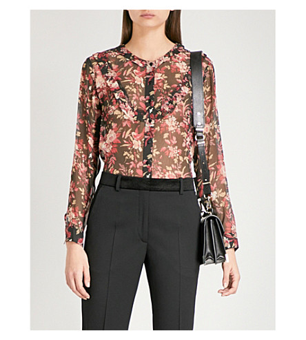 THE KOOPLES Colibri floral-print silk shirt (Bla26