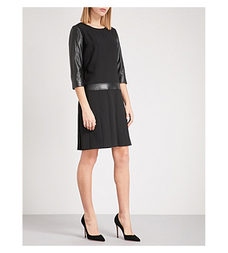 THE KOOPLES Crepe and leather midi dress (Bla01