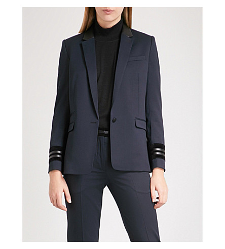 THE KOOPLES Leather-trimmed stretch-wool jacket (Nav03