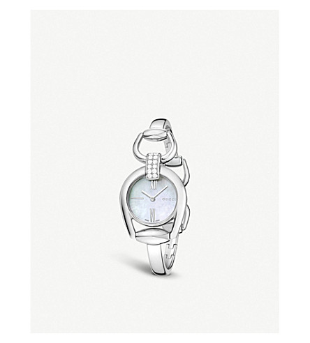 GUCCI YA139504 Horsebit Diamond Quartz Ladies Watch