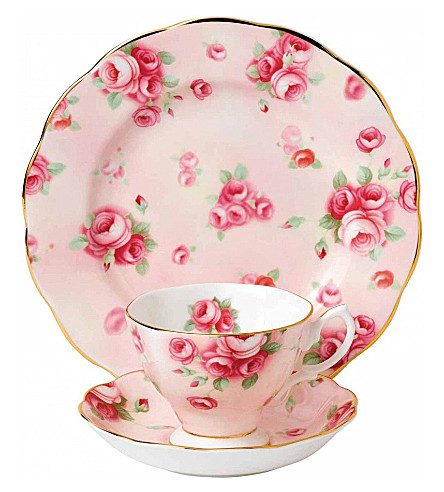 ROYAL ALBERT 100 years rose blush 3-piece tea set (1980's)