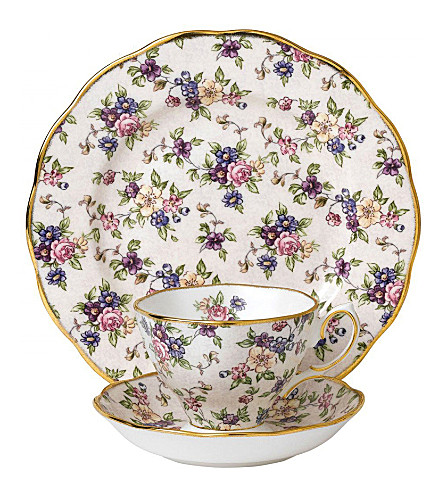 ROYAL ALBERT 100 years english chintz 3-piece tea set (1940's)