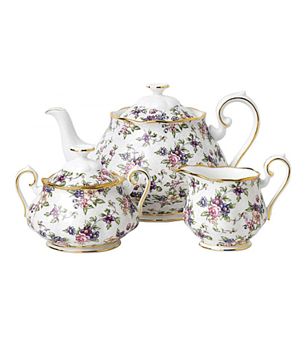 ROYAL ALBERT 100 years english chintz 3-piece teapot set (1940)